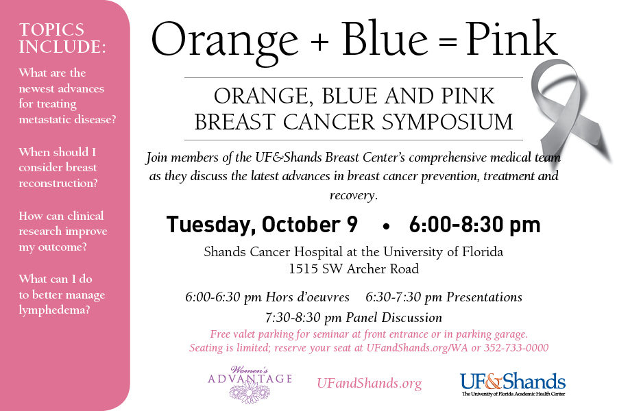 Announcement for breast cancer awareness event, Oct. 9, 2012